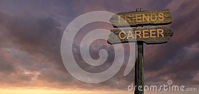 Sign direction FRIENDS - CAREER