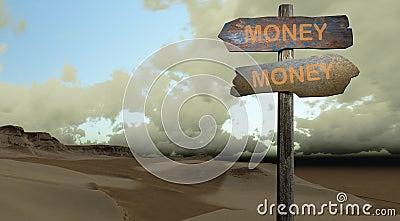 Sign direction money-money