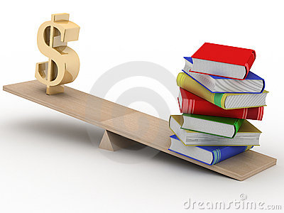 Sign dollar and the books on scales