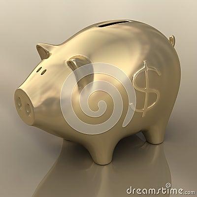 Sign Dollar Gold Piggy