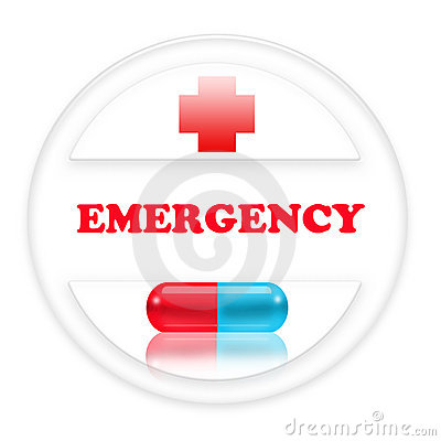Sign emergency with red cross and a pill