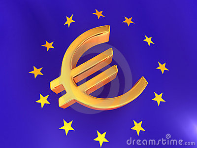 Sign of Euro on European flag