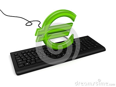 Sign of euro on a keyboard.