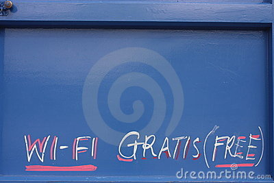 Sign free wi-fi in the door