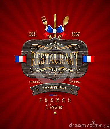 Sign of French restaurant with golden decor