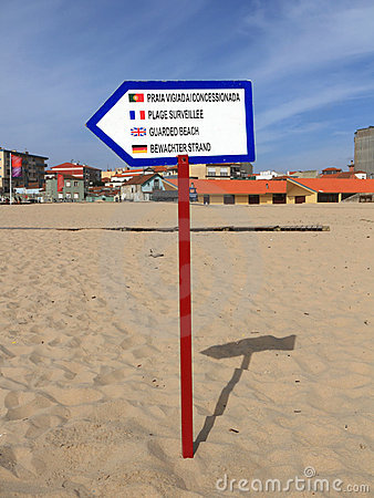 Sign of guarded beach