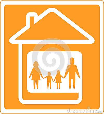 Sign with home and family silhouette
