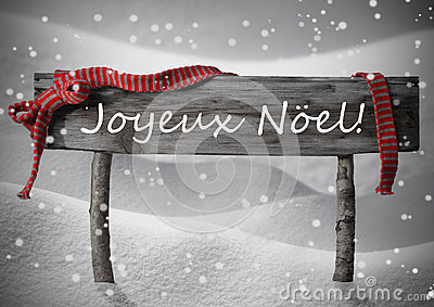 sign joyeux noel means merry christmas snow snowfalkes. Black Bedroom Furniture Sets. Home Design Ideas