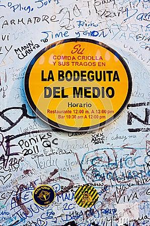 Sign at La Bodeguita del Nedio in Havana Editorial Photography