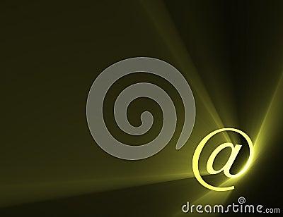 At sign email address symbol light flare