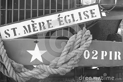 Sign on military vehicle of st. mere eglise, d-day