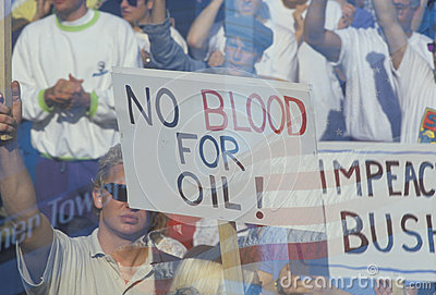 Sign No blood for oil Editorial Stock Photo