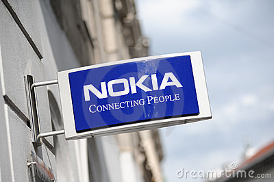 Sign of the NOKIA store in Helsinki Editorial Stock Photo