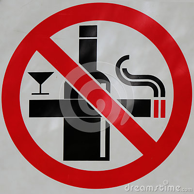 Free Sign Of No Smoking And No Drink Royalty Free Stock Images - 56090189