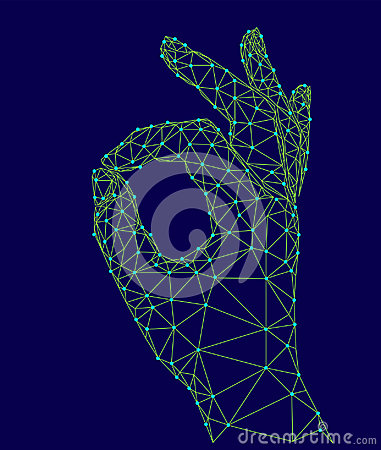 Free Sign Ok Finger Signal Agreement. 3d Low Poly Model Of Human Hand Connected Dots Point Line. Neon Green Blue Color Stock Photography - 97898702