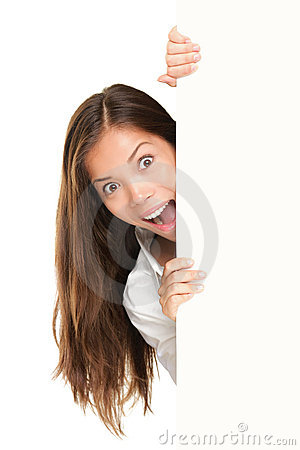 Free Sign People - Woman Peeking Stock Images - 20931714