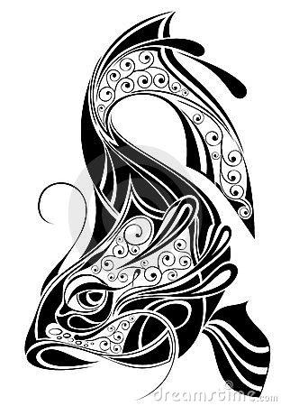 Sign of Pisces.Tattoo design