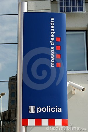 Sign at a Police Station in Barcelona Editorial Photography