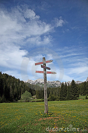Sign-post at the mountain