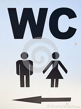 Sign of public toilets WC restroom