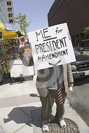 a sign that reads Me for President Editorial Photo