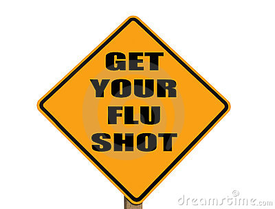 Sign reminding everyone to get their flu shot