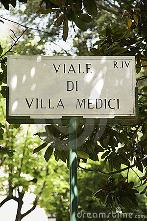 Sign in Rome, Italy.