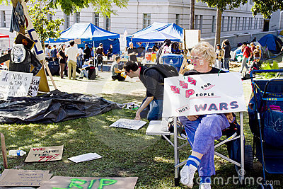 Sign By Sitting Participant At Occupy LA Editorial Stock Image
