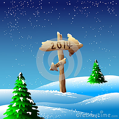 2014 sign in snowy landscape