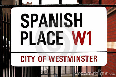 Sign Spanish Place in London, GB