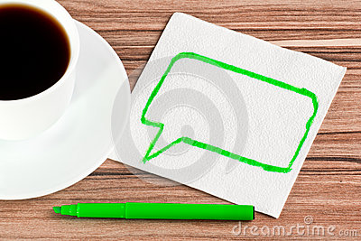 The sign of talk on a napkin