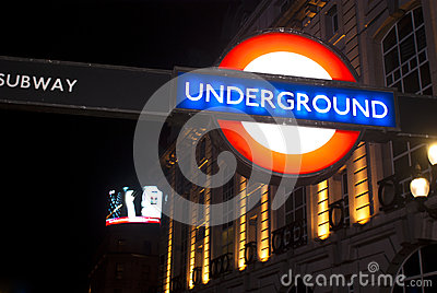 Sign of underground in London Editorial Stock Photo