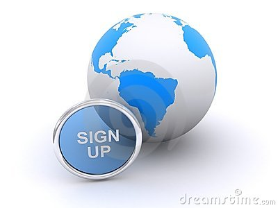 Sign up button and Earth