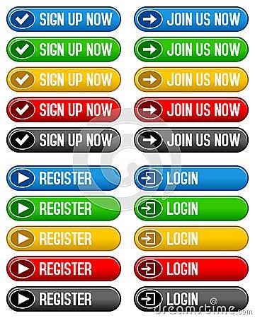 Sign Up Register Login Buttons