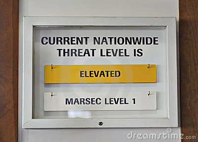 Sign US terrorist threat level elevated yellow