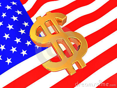 Sign of USD on American flag