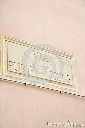 Sign for Via Della Purificazione in Rome.