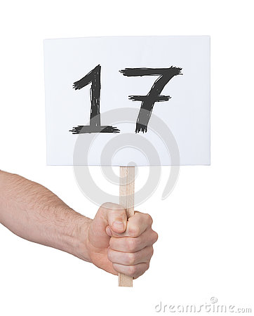Free Sign With A Number, 17 Royalty Free Stock Photo - 72847775