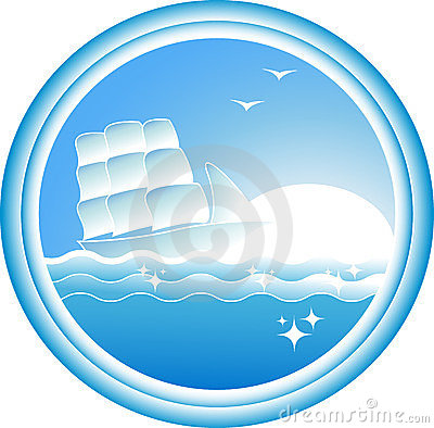 Free Sign With Sailing Ship On Blue Sea Royalty Free Stock Photo - 23629735