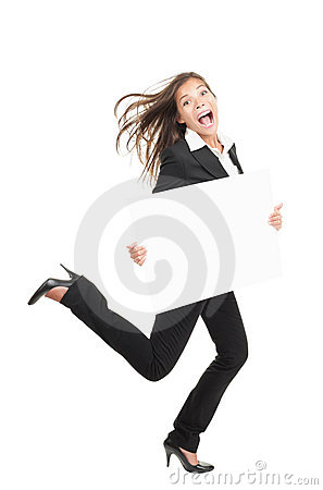 Sign woman - Busy businesswoman running