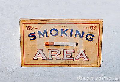 The Sign wooden box of smoking area