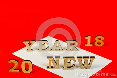 Sign from wooden letters new year Stock Photo