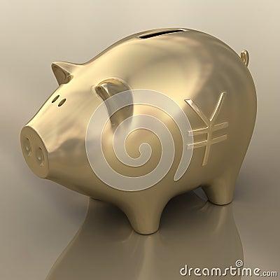 Sign Yen Gold Piggy