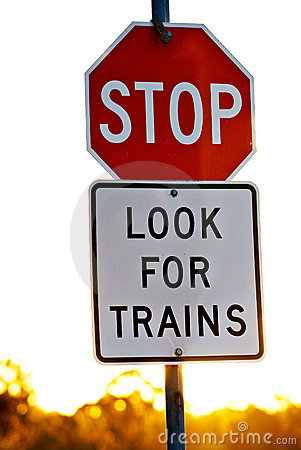 Free Signage At A Railway Crossing Royalty Free Stock Photo - 8750395