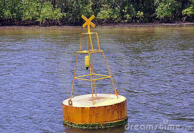 Signal buoy floating in sea