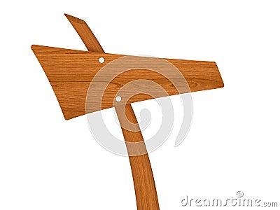 Signal de direction en bois blanc