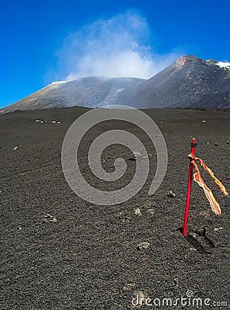 Signal stick onthe top of Etna