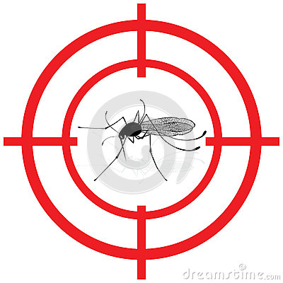 Signaling, mosquitoes with mosquito target gnat mira signal vector. Vector Illustration