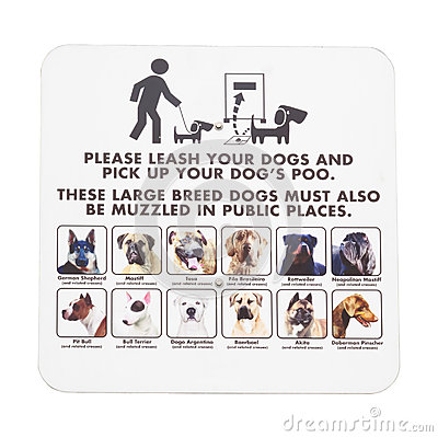 Signboard notice on walking dogs in public places