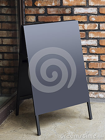 Free Signboard Stand Blank Menu Shop Restaurant With Brick Wall Stock Photos - 73622953
